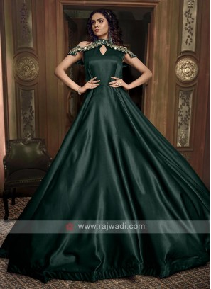 Bottle green color tissue silk gown