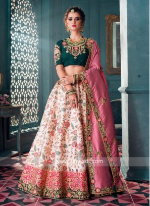 Bottle Green & Cream Lehenga Choli