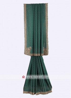 Bottle green crepe silk saree