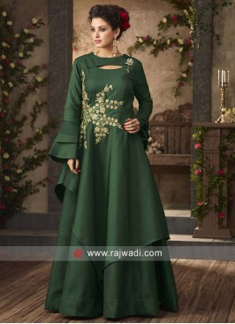 Bottle Green Embroidered Gown