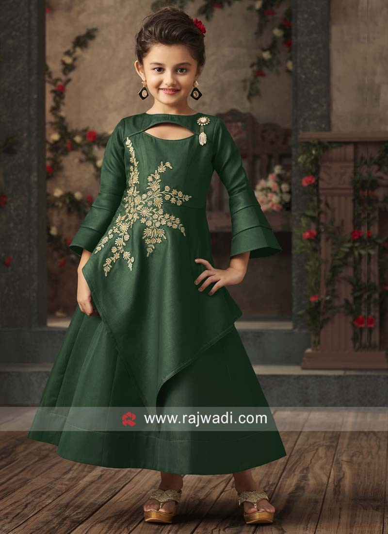 Bottle Green Embroidered Gown for Kids