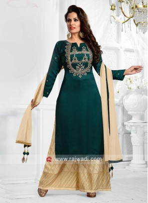 Bottle Green Embroidered Palazzo Suit