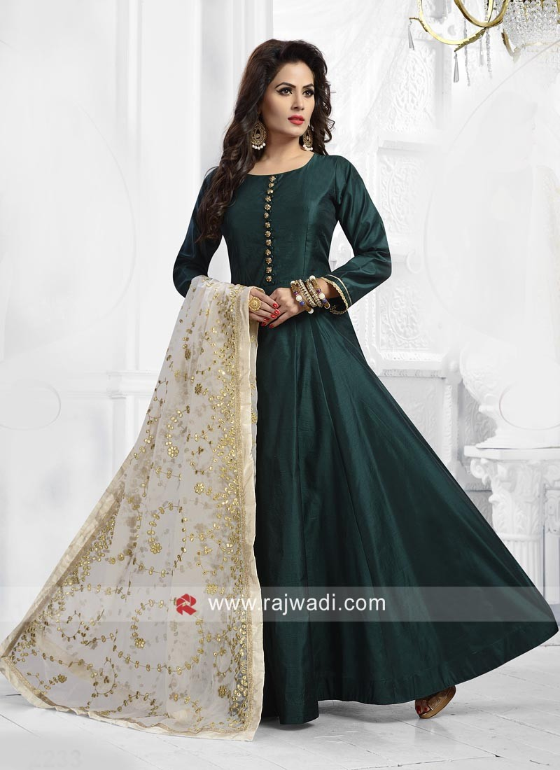 Bottle Green Floor Length Anarkali Dress