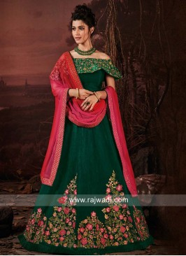 Bottle Green Flower Work Lehenga Choli
