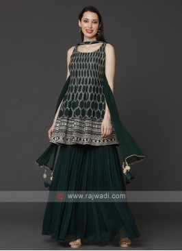 Bottle Green Gharara Suit