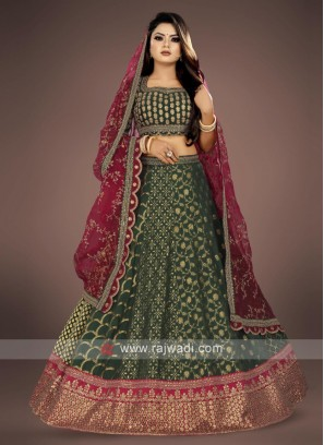 bottle green lehenga choli suit with maroon dupatta