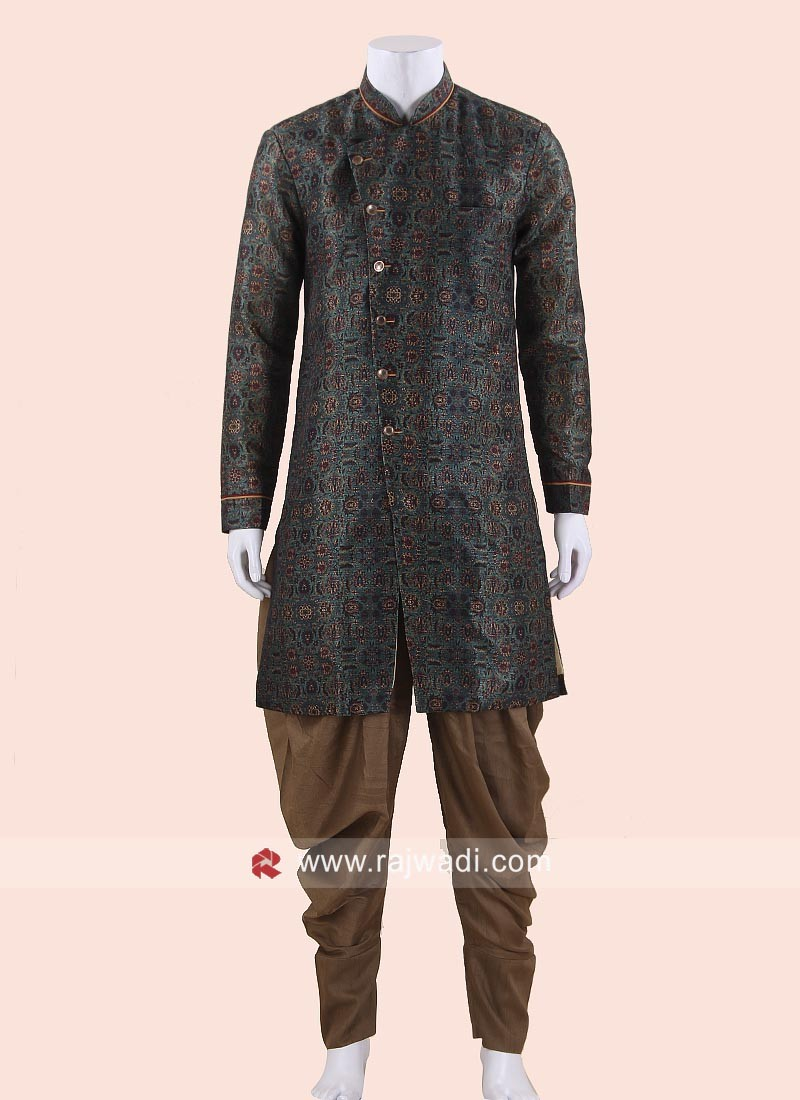 Bottle Green Mens Indo Western