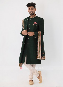 Bottle Green Mens Indo-Western