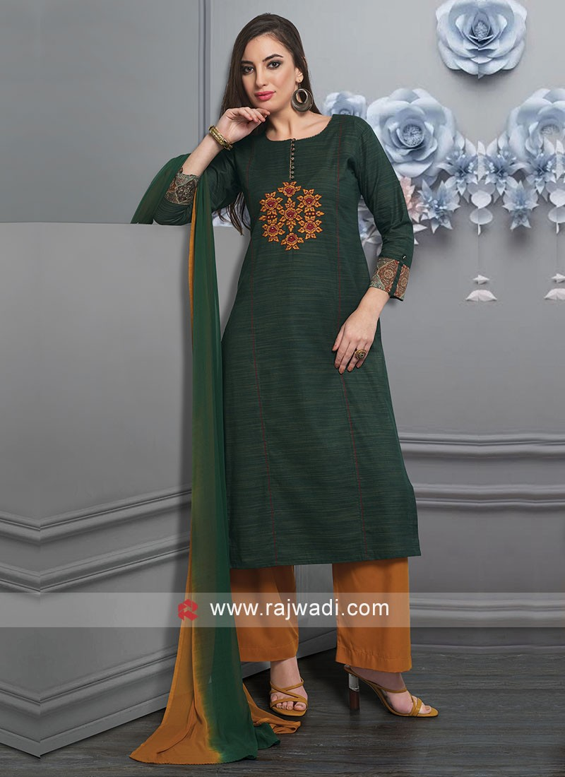 Bottle Green Palazzo Suit