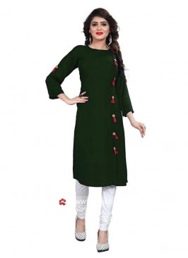 Bottle Green Rayon Kurti