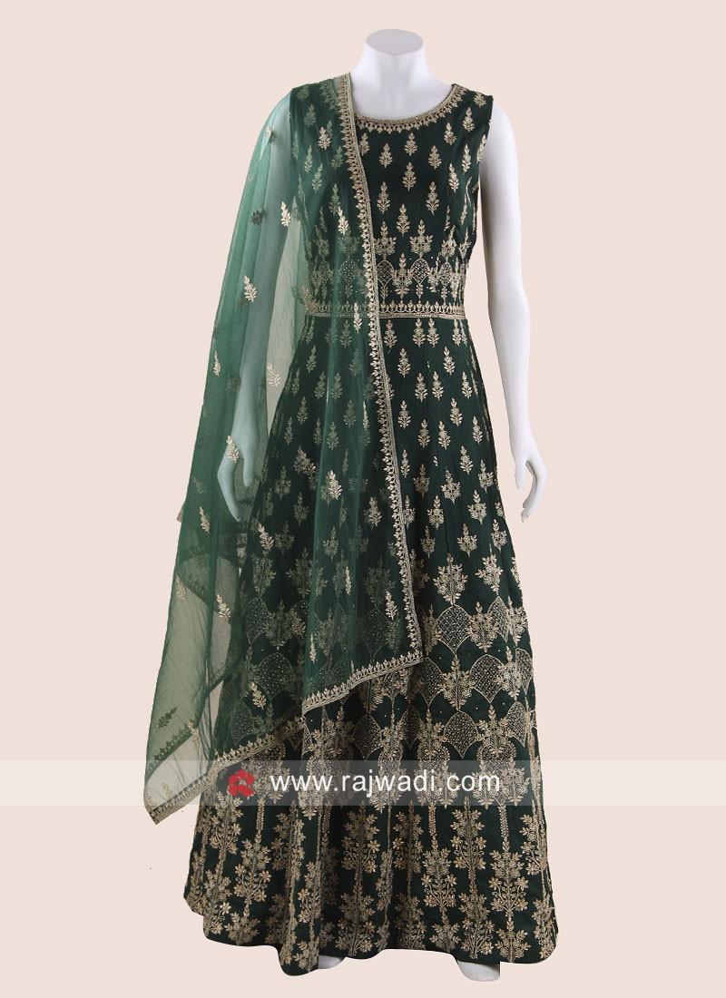 Bottle Green Silk Heavy Anarkali Suit