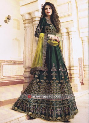 Bottle Green Unstitched Lehenga Choli