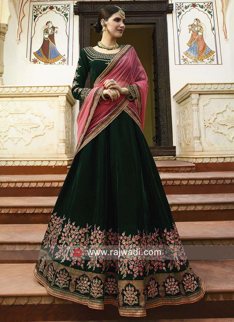 Bottle Green Velvet Heavy Lehenga