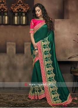 Bottle Green Wedding Saree