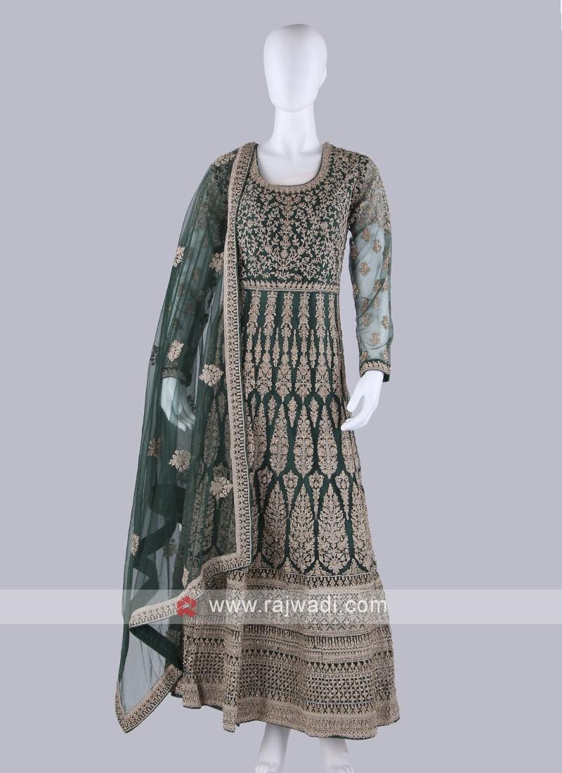 Bottle Green Color Anarkali Suit with dupatta