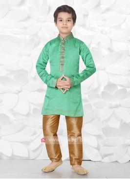 Boys Art Silk Green Kurta Pajama
