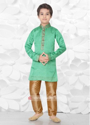 Boys Art Silk Green Kurta Pajama