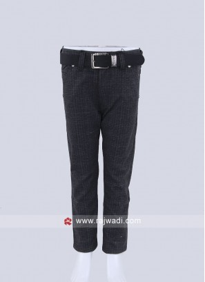 Boys Black color self texture  Trousers