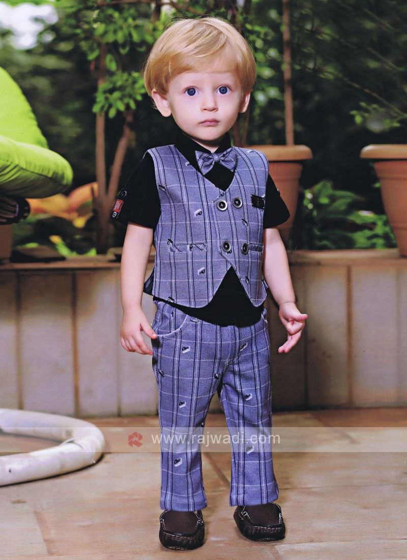 Boys Black & Light Steel Blue Coloured Shirt with Trouser