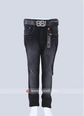Boys Black Regular Fit Jeans