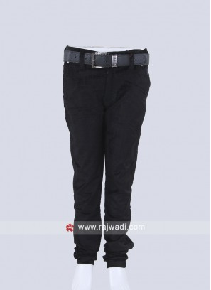 Boys Black Solid Trousers