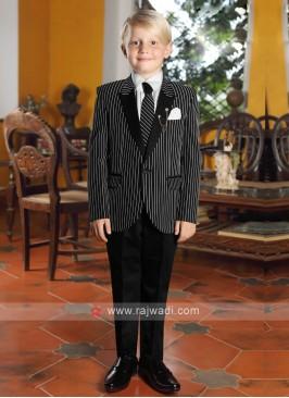 Boys Black Striped Suit