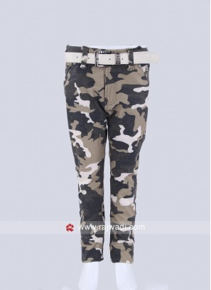 Boys Camouflage printed  fawn color Trousers
