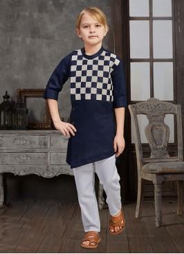 Boys Checks Printed Kurta Pajama