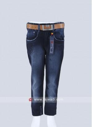 Boys Dark Blue Regular Fit Jeans
