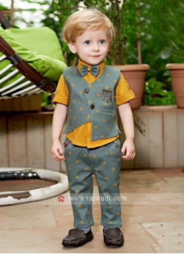 Boys Gold & Cadet Blue Coloured Shirt with Trouser