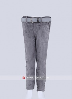 Boys Grey Solid Trousers
