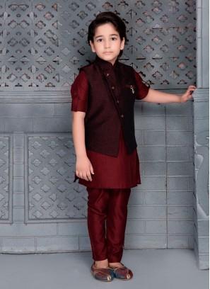 Boys Maroon Color Nehru Jacket