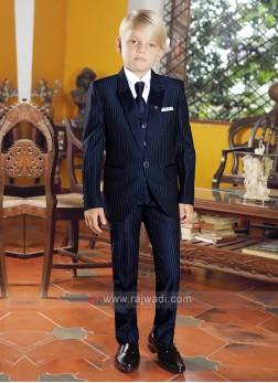 Boys Navy Blue Striped Suit