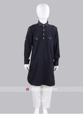 Boys Navy Color Pathani Set