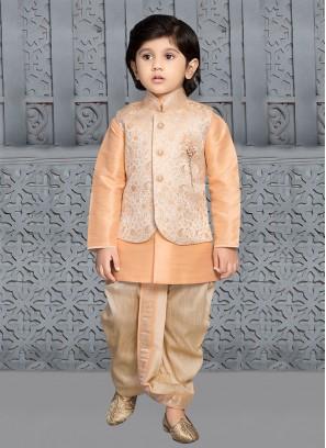 Boys Peach Color Nehru Jacket