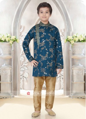 Boys Peacock Blue Kurta Pajama