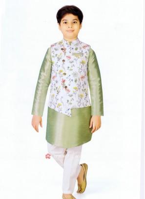 Boys Pista Green Nehru Jacket