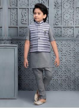 Boys Printed Nehru Jacket