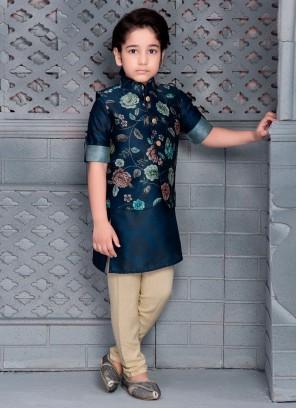 Boys Printed Nehru Jacket Set