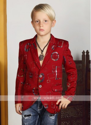 Boys Red Party Wear Blazer