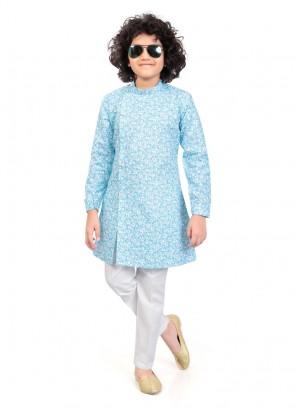 Boys Sky Blue Color Kurta Pajama