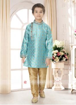 Boys Sky Blue Kurta Pajama