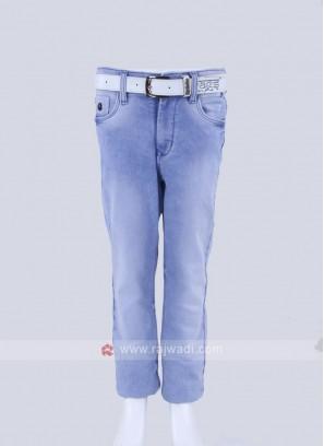 Boys Sky Blue Regular Fit Jeans