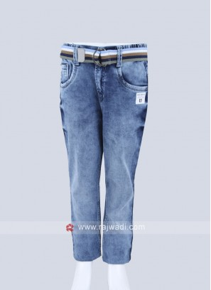 Boys Sky Blue Regular Fit Jeans