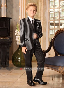Boys Striped Black Suit