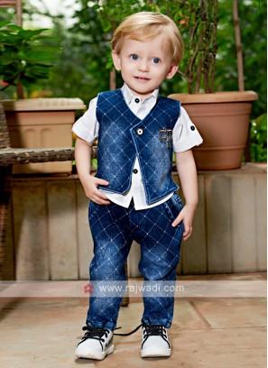 Boys White & Blue Coloured Shirt with Jeans