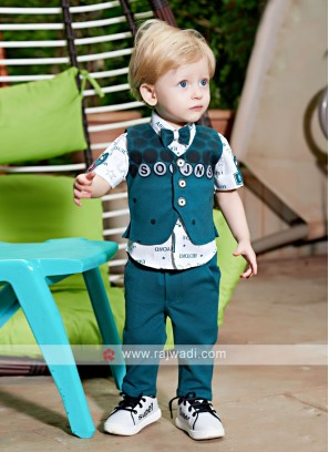 Boys White & Rama Coloured Shirt with Trouser
