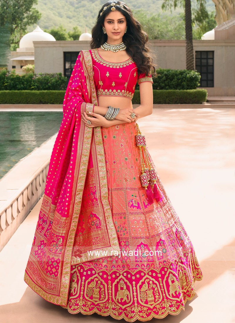 Breathtaking Embroidered Banarasi Silk Pink Trendy Lehenga Choli