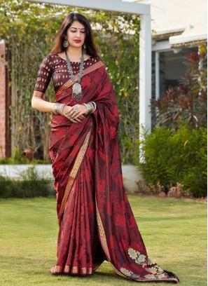Breathtaking Print Banarasi Silk Maroon Traditional Saree
