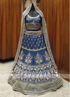 Bridal blue colour lehenga choli